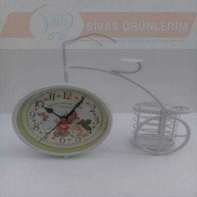 Bisiklet Figürlü Kalemlikli Saat