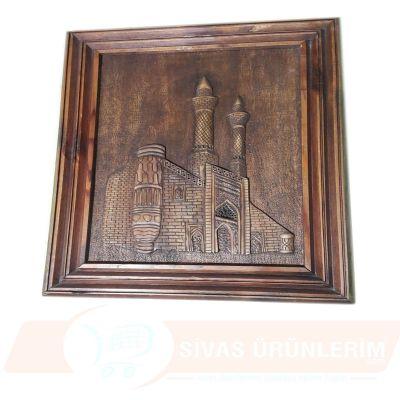 Çifte Minare Figürlü Ahşap Oyma Tablo